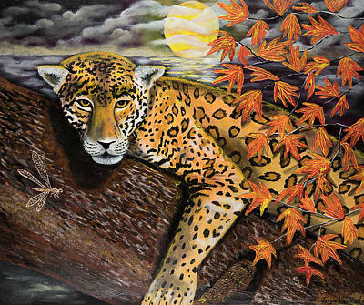 Manikins Painting - Autumn Jaguar by Jacqueline Martin