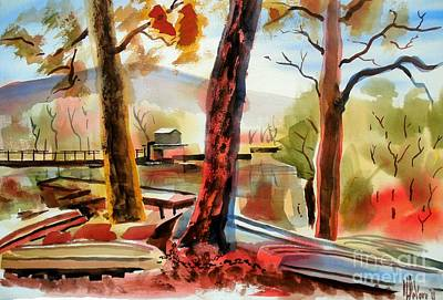 Fall Colour Painting - Autumn Jon Boats I by Kip DeVore