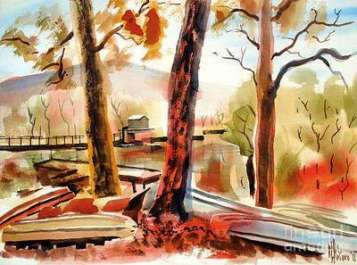 Fall Colour Painting - Autumn Jon Boats II by Kip DeVore