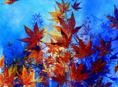 Maple Leaf Art Painting - Autumn Joy by Hanne Lore Koehler