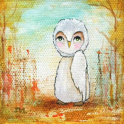 Painting - Autumn Joy White Owl Whimsical Abstract Art by Itaya Lightbourne