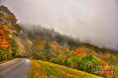 Autumn Just Around The Bend Blue Ridge Parkway In Nc Art Print by Reid Callaway