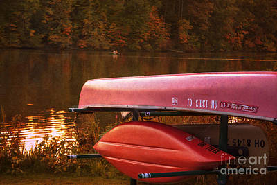 Autumn Kayaks On Newport Lake Art Print by Janice Rae Pariza
