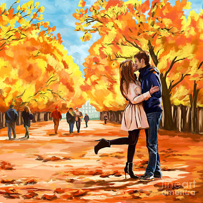 Painting - Autumn Kiss In Park by Tim Gilliland