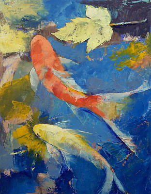 Poisson Painting - Autumn Koi Garden by Michael Creese