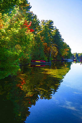 Canoe Digital Art - Autumn Lake Mirror - Impressions Of Fall by Georgia Mizuleva