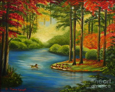 Art Print featuring the painting Autumn Lake by Shelia Kempf