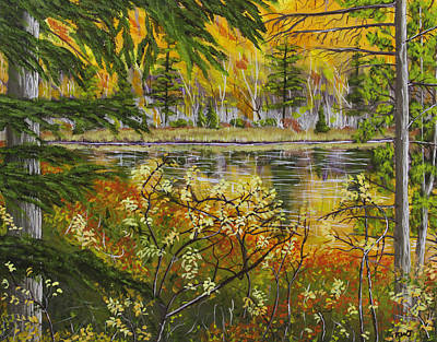 Beaver Lake Painting - Autumn Landscape In Kennebec Highlands Of Maine by Keith Webber Jr