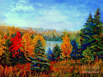 Autumn Landscape Quebec Red Maples And Blue Spruce Trees Art Print by Carole Spandau