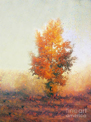 Sicily Painting - Autumn Landscape With Lonely Tree  by Odon Czintos