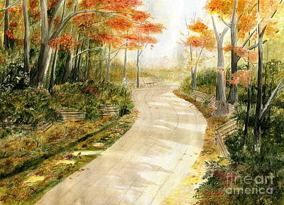 Autumn Lane Art Print by Melly Terpening
