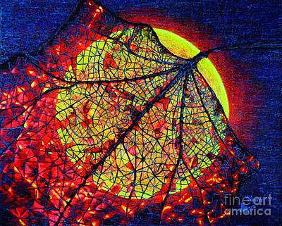 Autumn Leaf Moon Art Print by Viktor Lazarev
