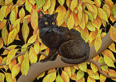 Pussycat Painting - Autumn Leaves by Ditz