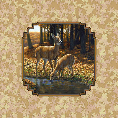 Autumn Scene Painting - Autumn Leaves Doe And Fawn Pillow And Duvet Cover by Crista Forest