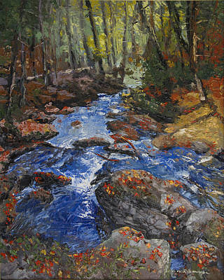 Peter Muzyka Wall Art - Painting - Autumn Leaves Floating Downstream by Peter Muzyka