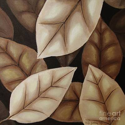 Autumn Leaves In Sepia Art Print by Anna Bronwyn Foley