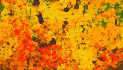 Red Leaves Mixed Media - Autumn Leaves Pop Art by Dan Sproul