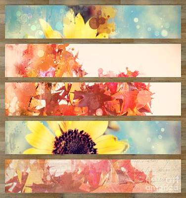 Outdoor Still Life Mixed Media - Autumn Leaves Sunflower Country Landscape Collage  by Cranberry Sky