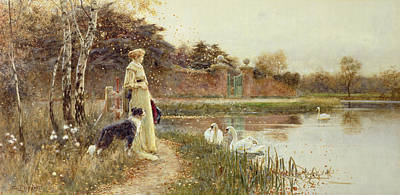 Swans... Painting - Autumn Leaves by Thomas James Lloyd