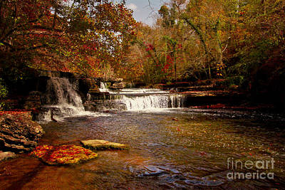 Photograph - Autumn Leaves Waterfalls On The Tennessee Duck River by Jerry Cowart