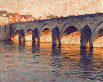 Meuse Painting - Autumn Light Through The Saint Servaas Bridge Maastricht by Nop Briex