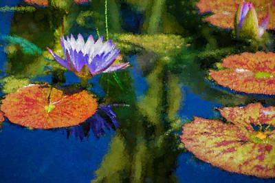 Autumn Lily Pad Impressions Art Print by Georgia Mizuleva