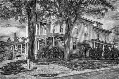 Mansion Digital Art - Autumn Mansion 4 - Paint Bw by Steve Harrington