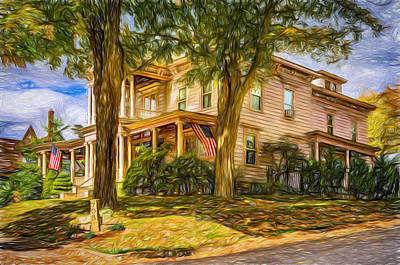 Mansion Digital Art - Autumn Mansion 4 - Paint by Steve Harrington