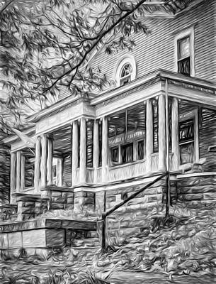 Mansion Digital Art - Autumn Mansion 5 - Paint Bw by Steve Harrington