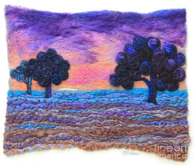 Needle Felting Tapestry - Textile - Autumn Meadow Sunset by Michelle Bowers