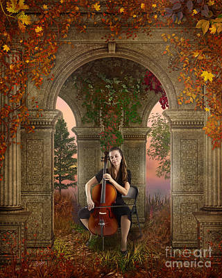 Violin Mixed Media - Autumn Melody by Bedros Awak