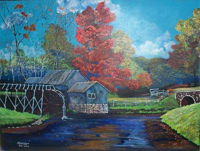 Gristmill Painting - Autumn Mill by Dave Farrow
