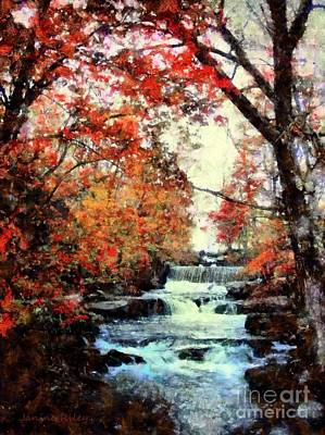 Fall Foliage Mixed Media - Autumn Mill Falls by Janine Riley