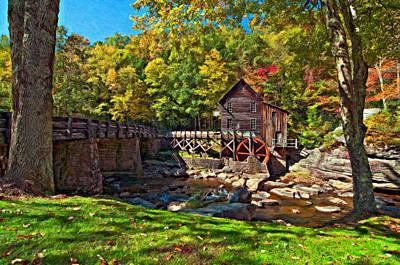 Autumn Mill Impasto Art Print