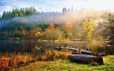 Tom Schmidt Painting - Autumn Mist by Tom Schmidt
