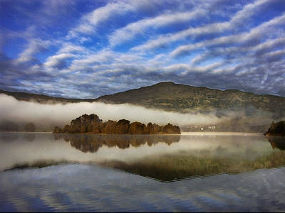 Pink Black Tree Rainbow Photograph - Autumn Mists Over Grasmere by Adrian Campfield