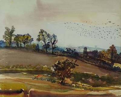 Of Birds Photograph - Autumn Mood, 1980 Wc On Paper by Brenda Brin Booker