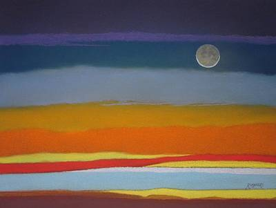 Painting - Autumn Moon And Sunset Sky by Harvey Rogosin