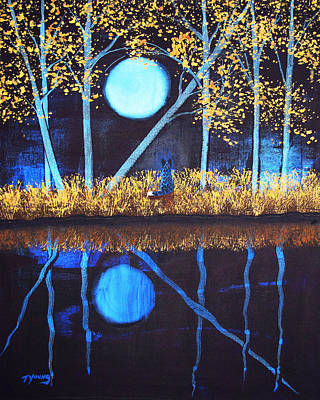 Blue Heeler Painting - Autumn Moon by Todd Young