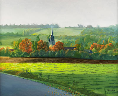 Autumn Landscape Drawing - Autumn Morning At St Ulphace by Christian Simonian