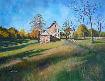 Old Barn Painting - Autumn Morning by Diane Hutchinson