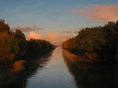 Briex Painting - Autumn Morning Light Over The Wilhelmina Canal by Nop Briex
