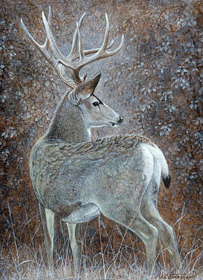 Bucking Bull Painting - Autumn Muley by Mike Stinnett
