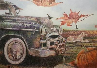Drawing - Autumn by NJ Brockman