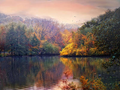 Lakes Digital Art - Autumn On A Lake by Jessica Jenney