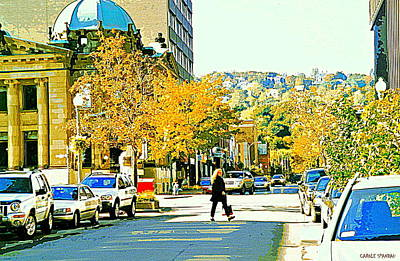 Cafes Painting - Autumn On Mount Royal Greene Avenue Westmount Near Sherbrooke October Montreal City Scene by Carole Spandau