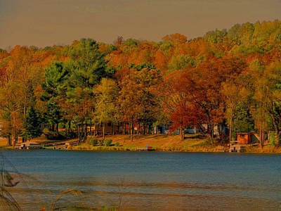 Autumn On Mt Noris Lake Art Print by Victoria Sheldon