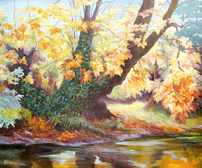 Overhang Painting - Autumn On The Darent by Cristiana Angelini