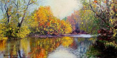 Autumn Scene Painting - Autumn On The River by Bonnie Mason