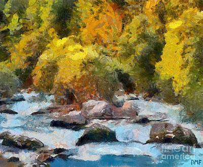 Landscape Painting - Autumn On The River Soca by Dragica  Micki Fortuna